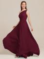 Alicepub One Shoulder Bridesmaid Dresses Chiffon Long Maxi Formal Party Dress for Women