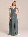 Alicepub Cold Shoulder Chiffon Bridesmaid Dresses for Women Party