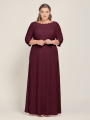 Alicepub Scoop Neck Lace Long 3/4 Sleeve Dresses for Women Formal Party