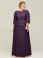 Alicepub Plus Size Mother of The Bride Dresses Lace and Chiffon Long Dress for Wedding Guest