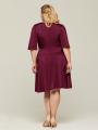 Alicepub Women's V-Neck Plus Size Dress with Half Sleeve Casual Wear to Work
