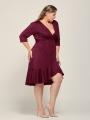 Alicepub Women's Stretch Jersey Wrap Dress 3/4 Sleeve Casual Wear to Work Dress Ruffle Trim Midi Dress