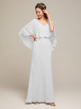 Alicepub V-Neck Long Formal Prom Gown Bridesmaid Dress with Cape Top
