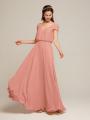 Alicepub V-Neck Bridesmaid Dresses with Sleeves Chiffon Long Prom Evening Dress