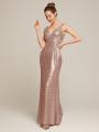 Alicepub V-Neck Sequins Gold Bridesmaid Dress Long Mermaid Prom Evening Formal Gown