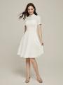 Alicepub Short Sleeves Lace Bridesmaid Dresses Short with Chiffon Skirt