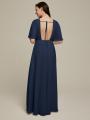 Alicepub V-Neck Short Sleeves Chiffon Long Formal Dresses for Women Party