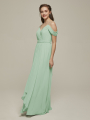 Alicepub Off The Shoulder Chiffon Bridesmaid Dress Long Formal Gown