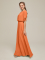 Alicepub Flutter Sleeve Chiffon Bridesmaid Dress Long Formal Evening Prom Gown with Open Back