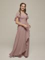 Alicepub Chiffon Bridesmaid Dresses Long Formal Evening Prom Dress with Flutter Sleeve