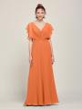 Alicepub V Neck Backless Chiffon Formal Long Bridesmaid Dresses  for Women