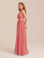Alicepub Halter Bridesmaid Dress Long Chiffon Women Evening Maxi Gown