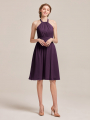 Alicepub Halter Chiffon Bridesmaid Dresses Short Formal Party Dress