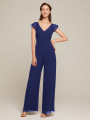 Alicepub Low V-Back Women's Sexy Casual Loose Wide Leg Pant Romper Jumpsuit