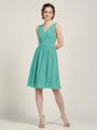 Alicepub V-Neck Bridesmaid Dress Chiffon Short Formal Dresses for Women