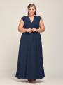 Alicepub Wrap V-Neck Chiffon Bridesmaid Dresses for Women Long Formal Evening Dress with Self Tie Waist