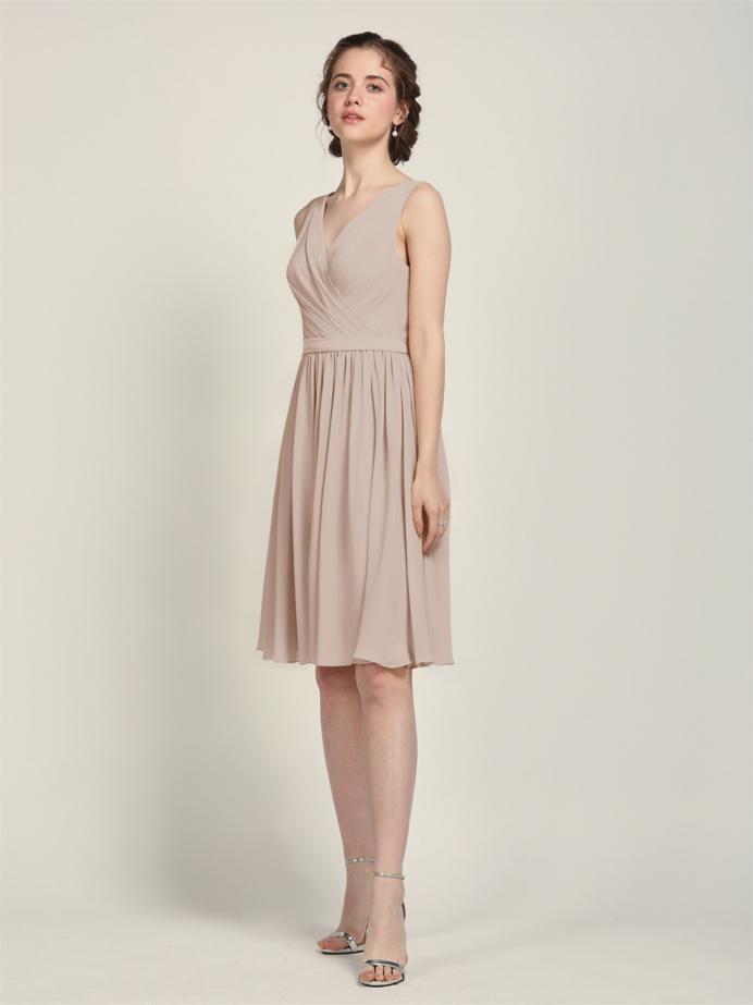 Alicepub V-Neck Bridesmaid Dress Chiffon for Women Party Homecoming
