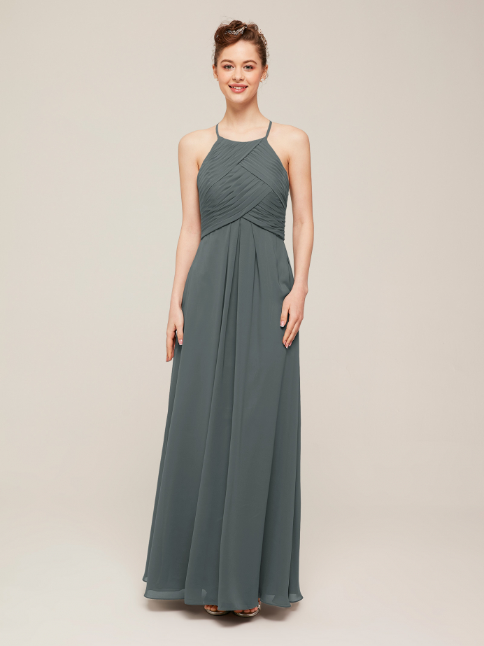 Alicepub Halter Chiffon Bridesmaid Dresses Long Formal Party Dress for Women Prom Evening
