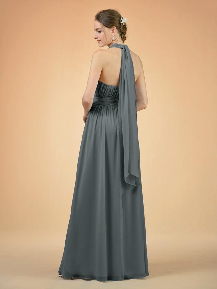 Alicepub Chiffon Bridesmaid Dress Long V-Neck Formal Dress Prom Evening Gown