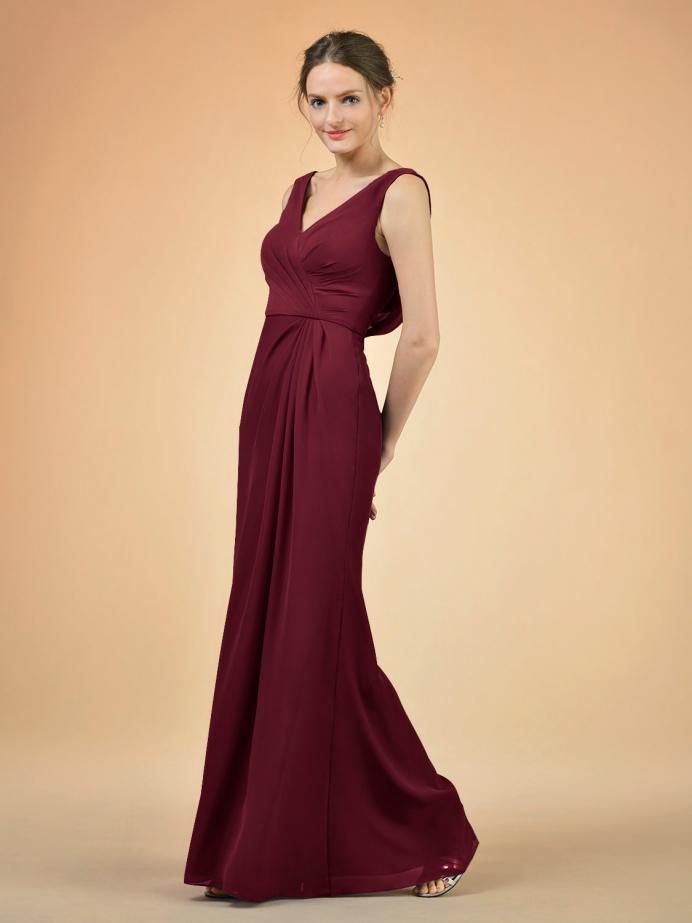 Alicepub Long Bridesmaid Dresses Chiffon Elegant Dress Formal Evening Prom Gown