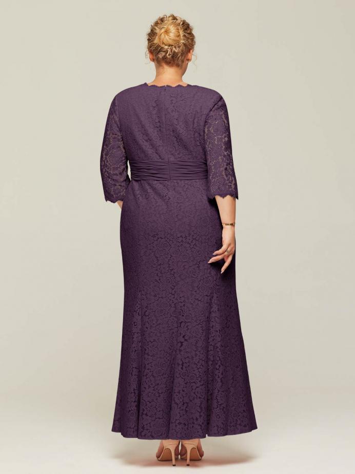 Alicepub V-Neck Long 3/4 Sleeve Lace Wedding Dresses for Women Formal Party