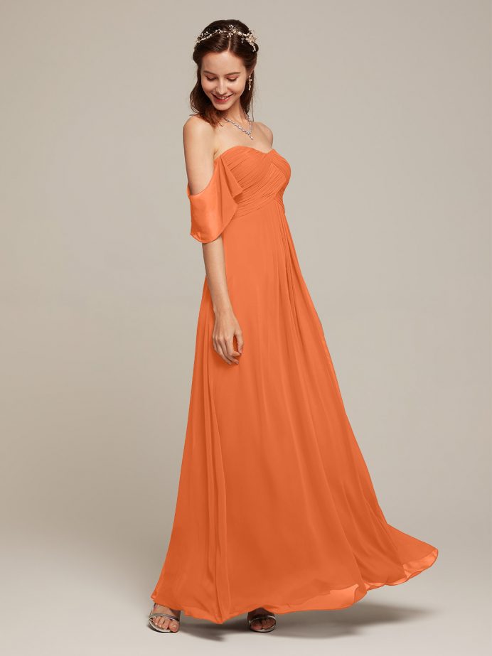 Alicepub Off The Shoulder Chiffon Bridesmaid Dresses Long Party Dress for Women Sweetheart