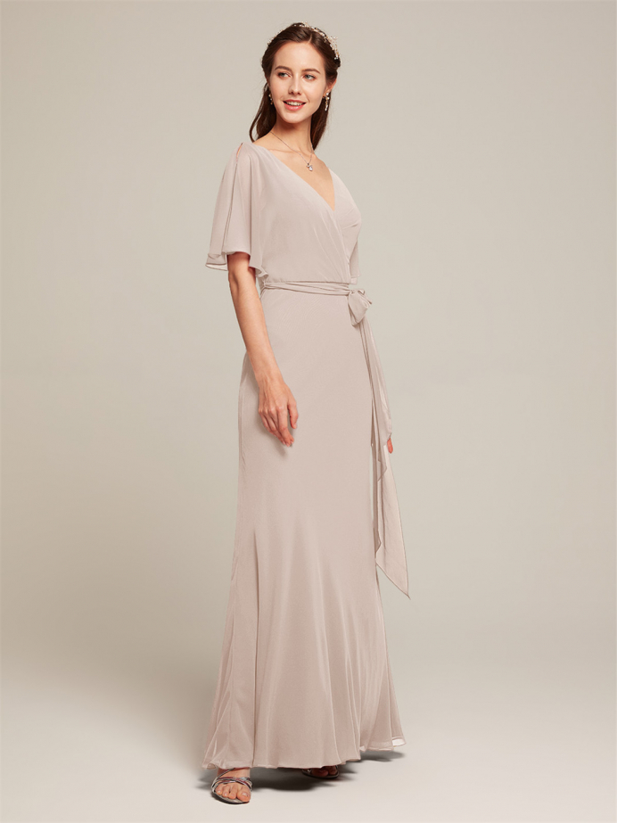 Alicepub Faux Wrap V-Neck with Sleeves Chiffon Long Formal Party Dress
