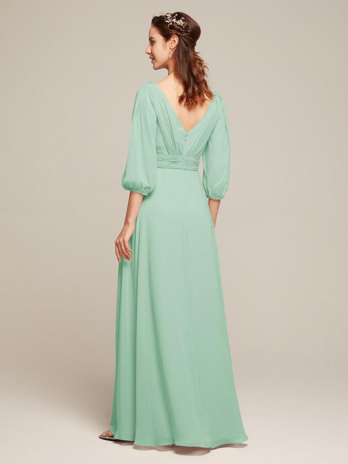 Alicepub V-Neck Chiffon Bridesmaid Dresses Long Sleeve Formal Dress for Women Party Evening
