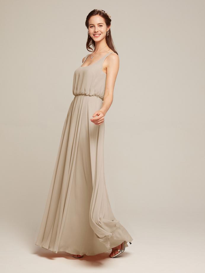 Alicepub Chiffon Bridesmaid Dress Long Tank Top Prom Evening Formal Gown Sleeveless