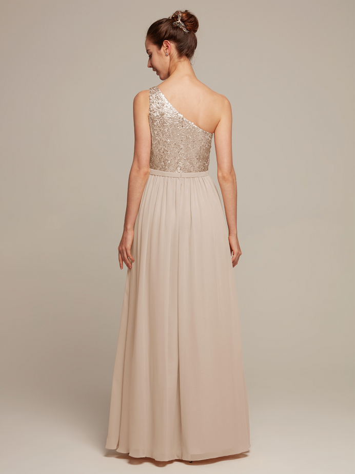 Alicepub Asymetrical Sequins Top Bridesmaid Dresss Chiffon A-line Prom Evening Formal Gown