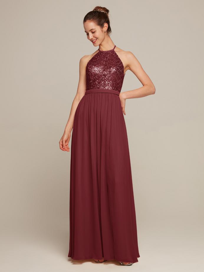 Alicepub Halter Bridesmaid Dresss Sequins Top Prom Evening Formal Gown