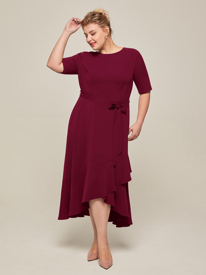 Alicepub Half Sleeves Ruffled Stretch Dresses for Women Casual Work Daily Dress