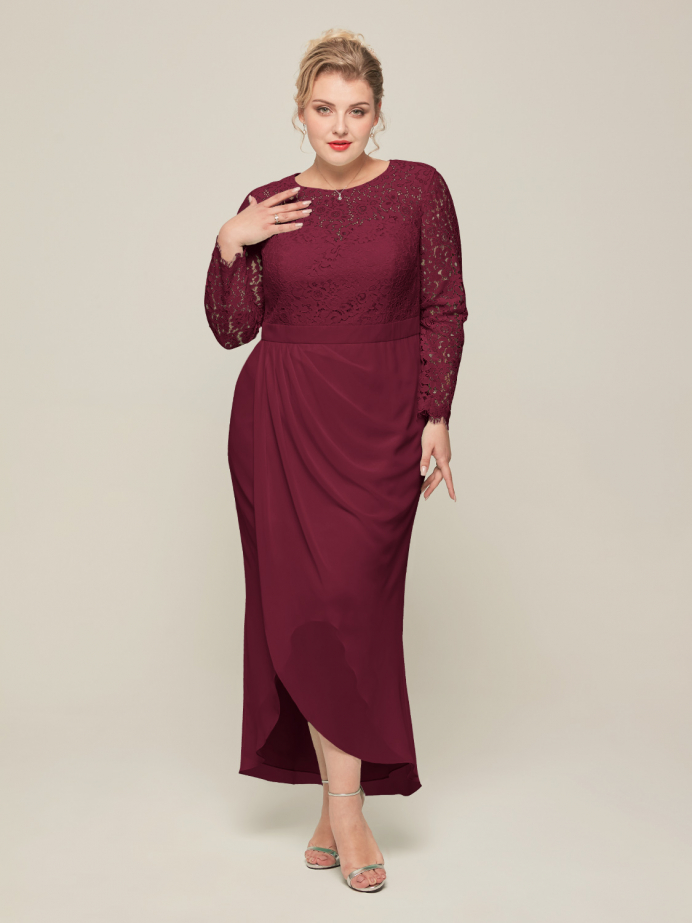 Alicepub Casual Wear with Chiffon Long Sleeve Lace Fall Dress for Women Party