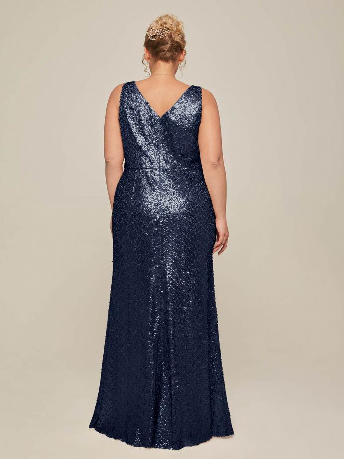 Alicepub V-Neck Sleeveless Sequins Mermaid Long Formal Dress for Women Party