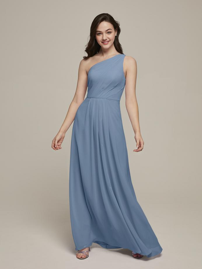 Alicepub One Shoulder Chiffon Bridesmaid Dresses Long Formal Dress for Special Ocassion