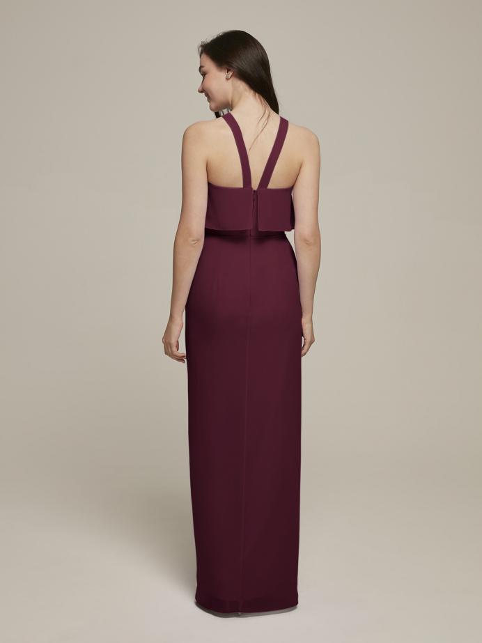 Alicepub Y-Neck Chiffon Bridesmaid Dresses Long Formal Evening Prom Dress with Slit