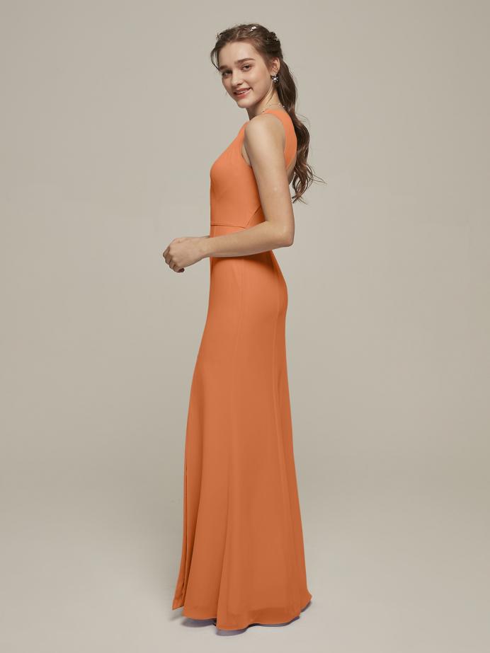 Alicepub Chiffon Mermaid Long Formal Evening Prom Dress with Open Back