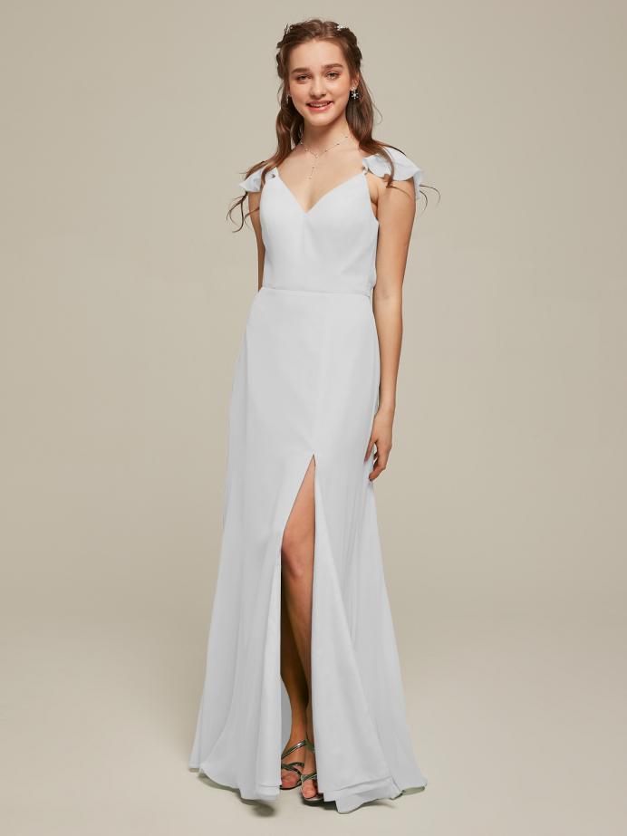 Alicepub Ruffled Straps Chiffon Bridesmaid Dresses Long Formal Dress