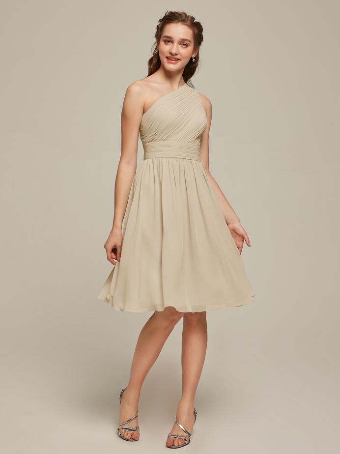 Alicepub One Shoulder Chiffon Bridesmaid Dress Short Formal Party Homecoming Gown