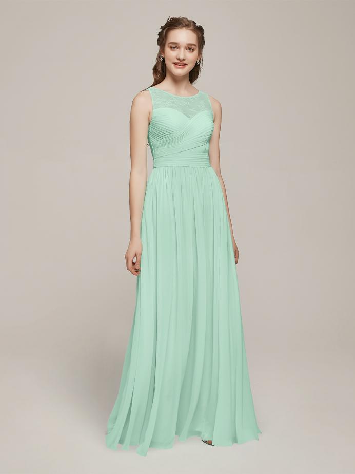Alicepub Sleeveless Chiffon  Long Bridesmaid Dresses Prom Dress with Illusion Neck