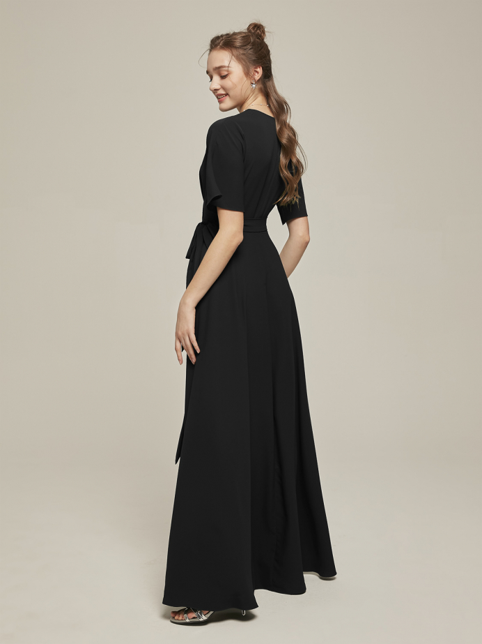 Alicepub Wrap V-Neck Short Sleeves Crepe Long Bridesmaid Dress with Formal Evening Gown