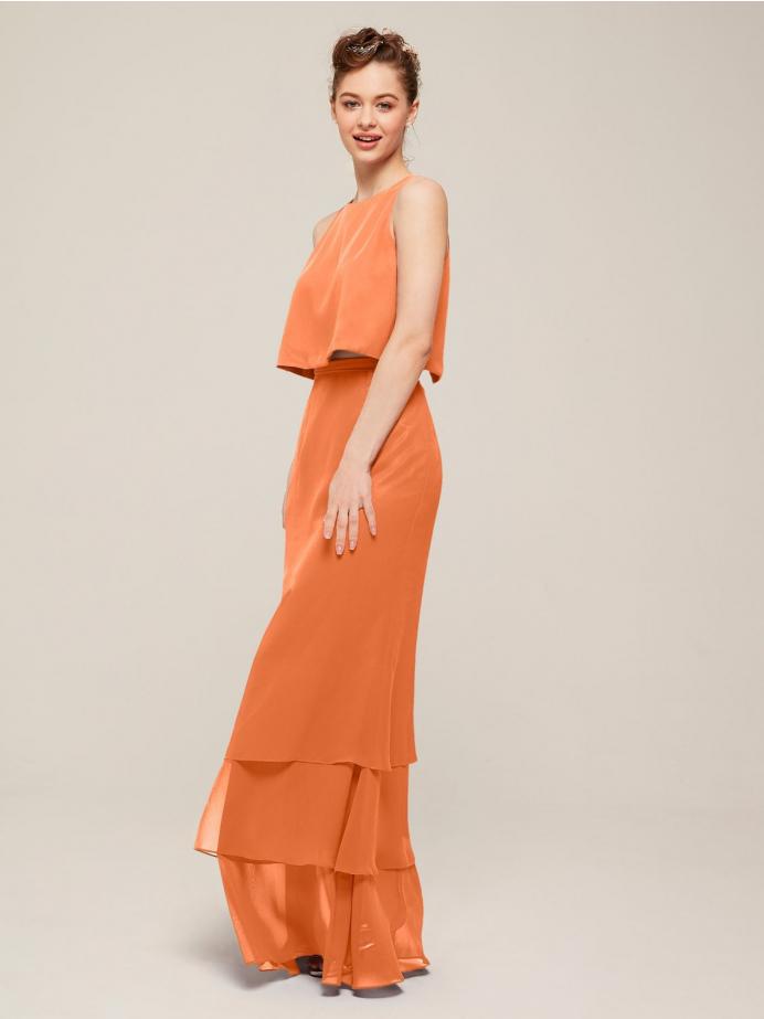 Alicepub 2Pcs/Set Chiffon Bridesmaid Dresses Long Formal Dress for Women Wedding Party