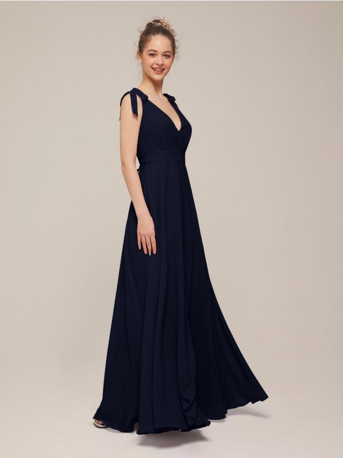 Alicepub V Neck Sleeveless Long Chiffon Bridesmaid Dresses for Women