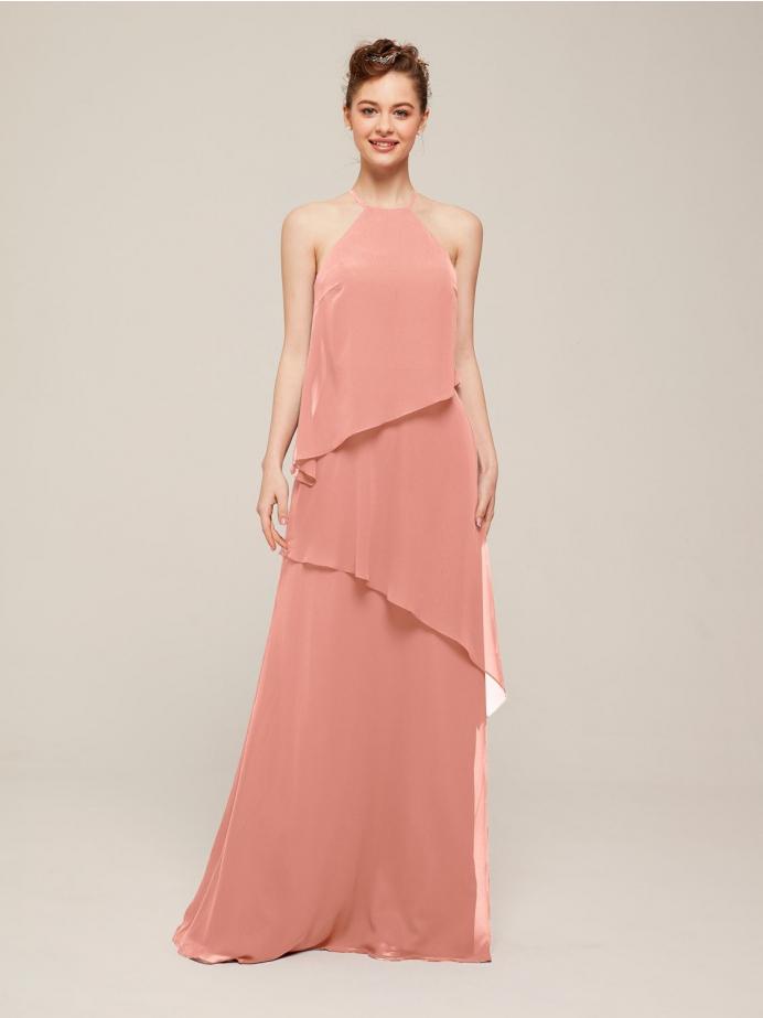 Alicepub Halter Chiffon Bridesmaid Dresses for Women Ruffle Formal Wedding Party