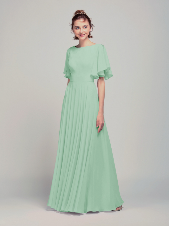 Alicepub Women's Chiffon Flutter Sleeve Long Sexy Backless Bridesmaid Dresses