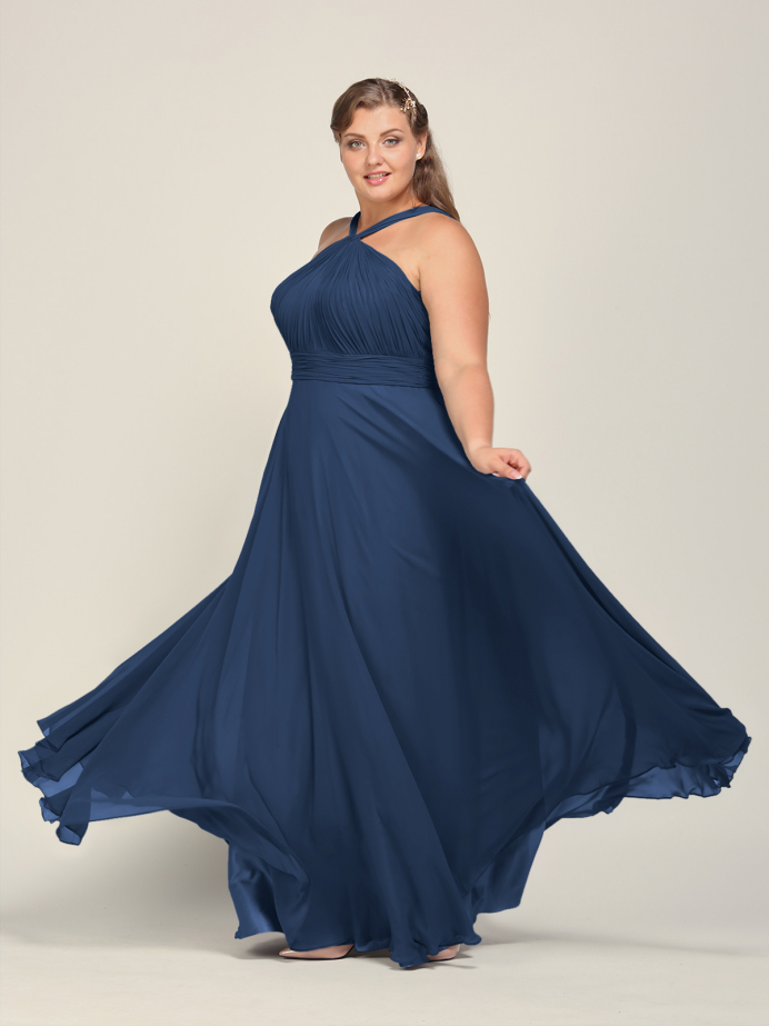 Alicepub Chiffon Bridesmaid Dresses for Women Wedding Long Formal Evening Dress Halter
