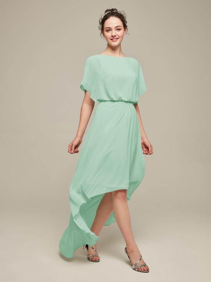 Alicepub Chiffon Backless Asymmetrical Bridesmaid Dresses High Low Formal Dress for Women Beach Summer