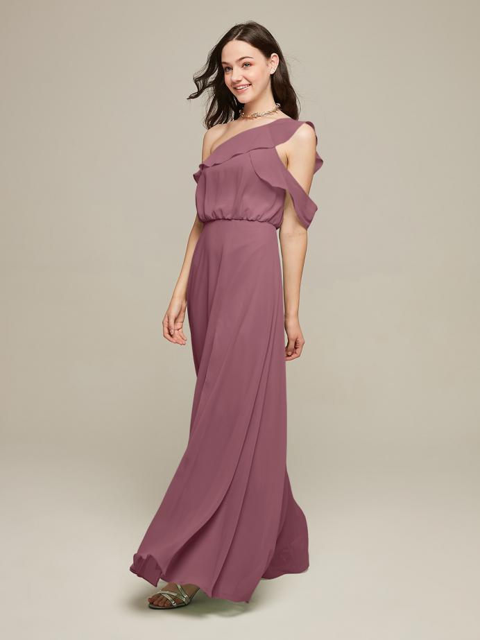 Alicepub One Shoulder Chiffon Long Bridesmaid Dresses for Women Ruffle Maxi Dress with Slit Wedding Evening Prom Beach