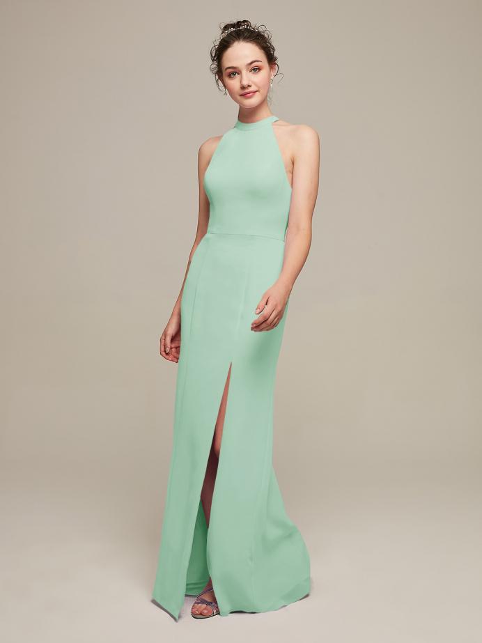 Alicepub Halter Mermaid Bridesmaid Dresses Long Chiffon Formal Evening Dress with Slit