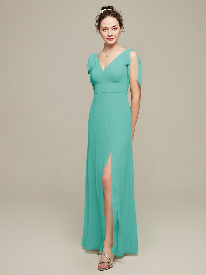 Alicepub Bow-Shoulder V-Back Chiffon Bridesmaid Dresses Maxi Formal Evening Gown with Front Slit